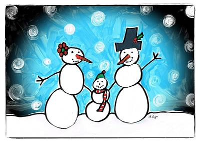 Frosty Family 1 Merry Christmas By Sharon Cummings Art Print by Sharon Cummings