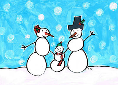 Frosty Family 2 Merry Christmas By Sharon Cummings Art Print by Sharon Cummings
