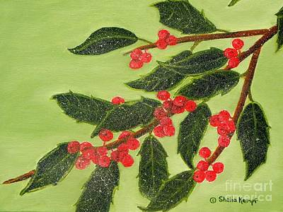 Painting - Frosty Holly Berries by Shelia Kempf