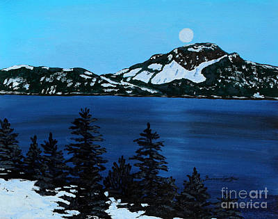 Frosty Weather Painting - Frosty Moonlit Night by Barbara Griffin