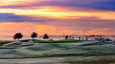 The Village Photograph - Frosty Morning Golf And Sunrise Sky by Sheila Haddad
