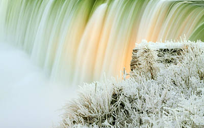 Ice Festival Photograph - Niagara Falls Illuminated With Winter Frost by Charline Xia