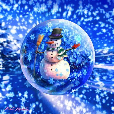 Scenes Digital Art - Frosty The Snowglobe by Robin Moline
