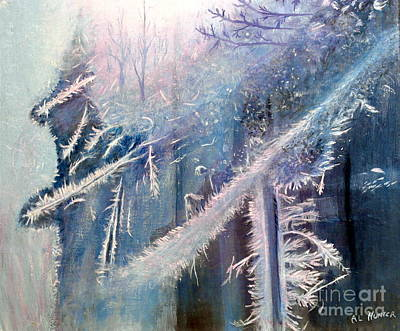 Painting - Frosty Window Dressing by Al Hunter
