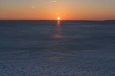 Photograph - Frozen Bay Sunset Jersey Shore by Terry DeLuco
