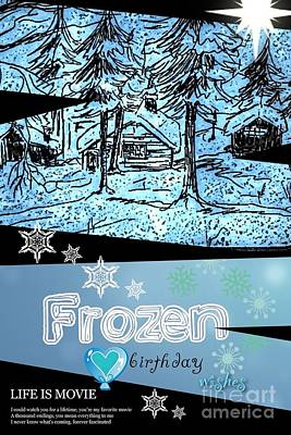 Drawing - Frozen Birthday Greeting by Joan-Violet Stretch