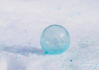 Photograph - Frozen Blue Bubble by Cheryl Baxter