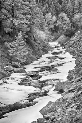 Canyons Photograph - Frozen Boulder Creek Boulder Canyon Colorado Bw by James BO  Insogna