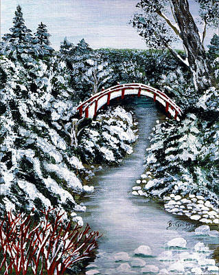 Snowscape Painting - Frozen Brook - Winter - Bridge by Barbara Griffin