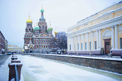 Frozen Canal Near Church Of The Savior Art Print by Jacobs Stock Photography Ltd