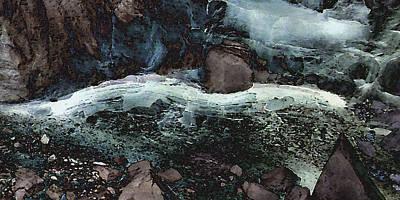 Digital Art - Frozen Cave by David Hansen