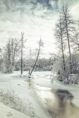 Frozen Creek At Sunset Art Print