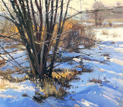 Painting - Frozen Creek Tag Alder by Larry Seiler