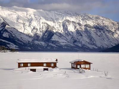 Roaring Red - Frozen Snow Docks - Lake Minnewanka, Banff National Park, Alberta, Canada by Ian Mcadie