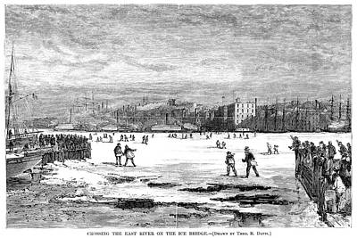 Winter Sports Painting - Frozen East River, 1871 by Granger
