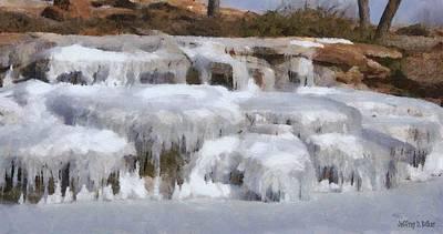 Icy Digital Art - Frozen Falls by Jeff Kolker