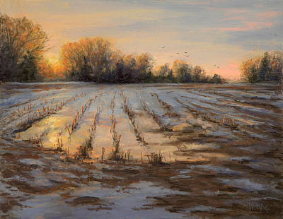 Snowscape Painting - Frozen Fields by Gary Huber
