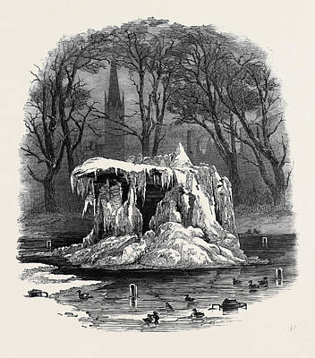 Frozen Fountain, Bowling Green Print by American School