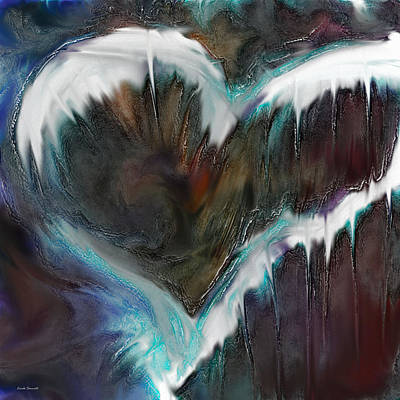 Abstract Movement Digital Art - Frozen Heart by Linda Sannuti