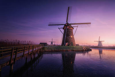 Holland Wall Art - Photograph - Frozen Kinderdijk by Clara Gamito