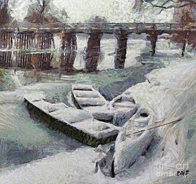 Snow Painting - Frozen Krka River by Dragica  Micki Fortuna