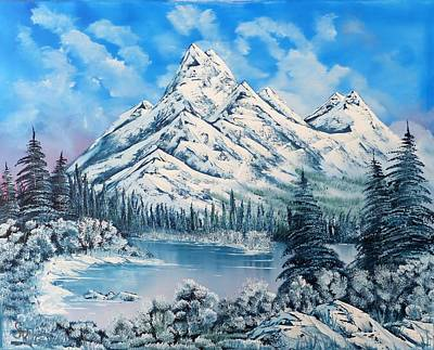 Wet On Wet Painting - Frozen Lake Frozen Land by Alfred Stringer