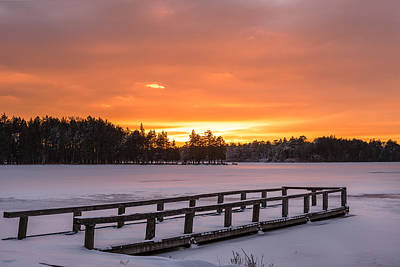 Photograph - Frozen Lake Lakehurst New Jersey by Terry DeLuco