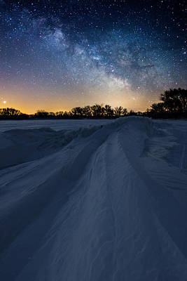 Venus Photograph - Frozen Lake Minnewaska Milky Way by Aaron J Groen