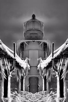 Frozen Lighthouse And Pier Surreal Art Print by Dan Sproul