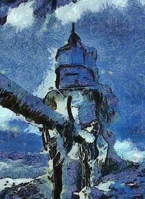 Great Mixed Media - Frozen Lighthouse On Lake Michigan by Dan Sproul