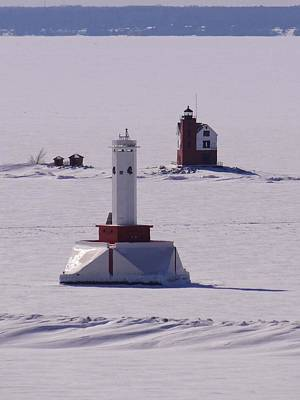 Photograph - Frozen Lighthouses by Keith Stokes