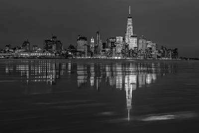 Photograph - Frozen Lower Manhattan Nyc Bw by Susan Candelario