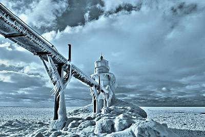 Snowstorm Photograph - Frozen On Lake Michigan Saint Joseph by Dan Sproul