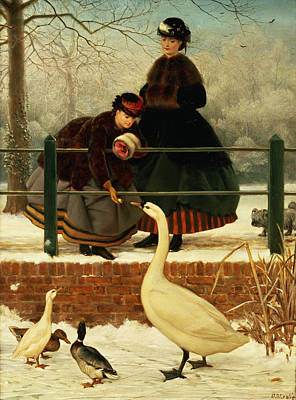 Geese Wall Art - Painting - Frozen Out by George Dunlop Leslie