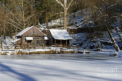 Mill In Woods Photograph - Frozen Pond  by Paul Ward