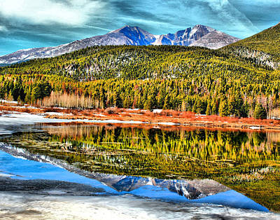 Frozen Reflection On Lily Lake Art Print by Rebecca Adams