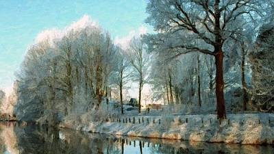 Cold Temperature Painting - Frozen River And Trees In Winter Season by Lanjee Chee