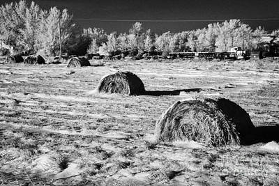 frozen snow covered hay bales in a field Forget Saskatchewan Canada Art Print by Joe Fox