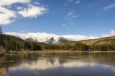 Photograph - Frozen Sprague Lake Reflection - Rocky Mountain National Park Estes Park Colorado by Brian Harig