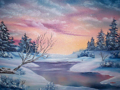 Snow Covered Pine Trees Painting - Frozen Stream by Alfred Knoll
