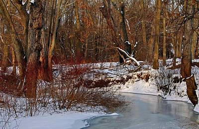 Photograph - Frozen Stream Lancaster Ma by Michael Saunders