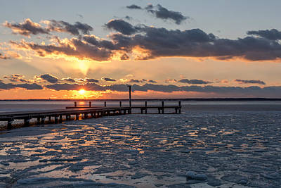 Photograph - Frozen Sunset Lavallette New Jersey by Terry DeLuco