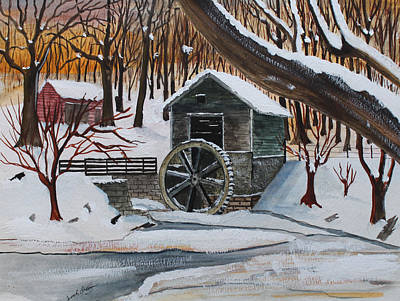 Jack Brauer Painting - Frozen Water Wheel by Jack G  Brauer