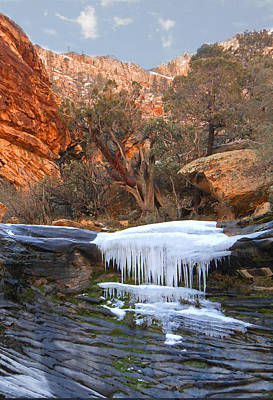 Snowy Mountain Loop Photograph - Frozen Waterfall by Alan Socolik