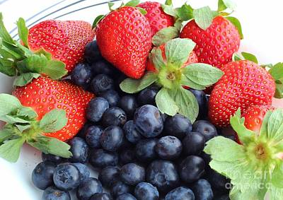 Strawberry Sundae Photograph - Fruit 2- Strawberries - Blueberries by Barbara Griffin