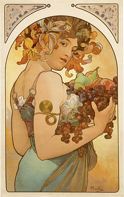 Advertisment Painting - Fruit by Alphonse Mucha