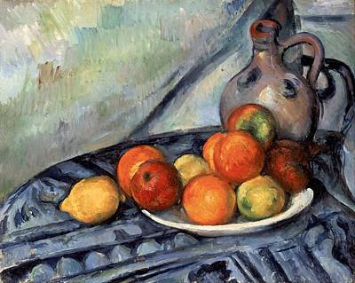 Fruit And A Jug On A Table Art Print by Paul Cezanne