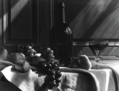 Food And Beverage Photograph - Fruit And Bread By A Wine Bottle by Horst P. Horst