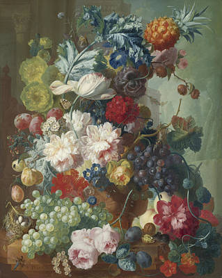 Dragonflies Painting - Fruit And Flowers In A Terracotta Vase by Jan van Os