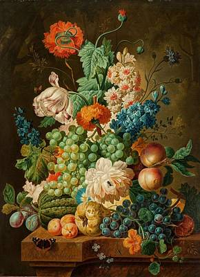Fruit And Flowers On A Marble Table Art Print by Paul Theodor van Brussel